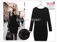 Hot Sale! New 2014 Fashion Women Winter Dress Pure Color Soft Nap Casual Dress Long Sleeve Autumn Casual Sexy Line Vestidos 3XL