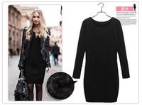 Hot Sale! New 2014 Fashion Women Winter Dress Pure Color Soft Nap Casual Dress Long Sleeve Autumn Casual Sexy Line Vestidos 3XL
