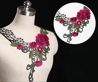 5pc 35x30cm Flower Embroidery Neckline Lace Applique Water Soluable Lace Trim Collar Dentelle Guipure Garment Accessories AC0223