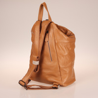 Apricot Solid Color Women Genuine Leather Zipper Casual Daily Backpack Outdoor Fashion Backpack Multi Conversion#HC035