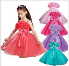 100% calidad superior 2014 nuevas chicas vestidos niño vestido de fiesta flor ocasional verano adolescente 2-13yrs comunión vestidos princesa(China (Mainland))