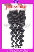 Freepart middle part 3 part Braizlian Deep Wave Closure Pieces Brazilian Virgin Hair Closure BleachedKnots Top Closure