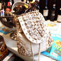 2014 new handbag wholesale Korean fashion buttons diamond retro boom bag tassel bag diagonal package free shipping