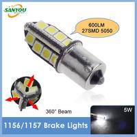 Newest 1 Set DC12V 5W 600LM 6000K led Brake Lights light bulb 1156 1157 27SMD 5050 Turn Signals for all cars