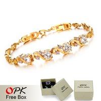 OPK JEWELRY Luxury 18K Yellow Gold Plated Wedding Bracelets inlaid AAA Zircon Crystal for women Shining Elegant Jewelry, 409 -30