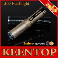 Keen Top Brand Gold Aluminium Shell Mini Portable Led Torch Flashlight Handheld Light Lamp 5W 450LM CREE Waterproof Lighting1Pcs