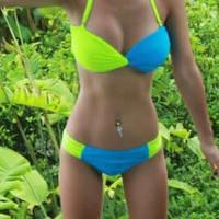 2014 sexy solid color steel bikini twinset beach swimwear neon swimwear swimsuit bikini set free shipping