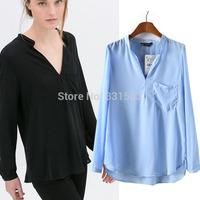 Free Shipping New 2014 Fashion Solid Color Brief Shirts Long Sleeve Woman Chiffon Blouses European Loose Shirt Women Blusas S-L