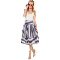 Striped Skirt Black White High Waist Chiffon Skirts For Womens Plus Size Perspective Midi Skirts Summer