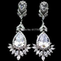 Real Pictures Teardrop AAA Cubic Zirconia Bridal Long Dangle Earrings for Women Imitated Gemstone Wedding Jewelry