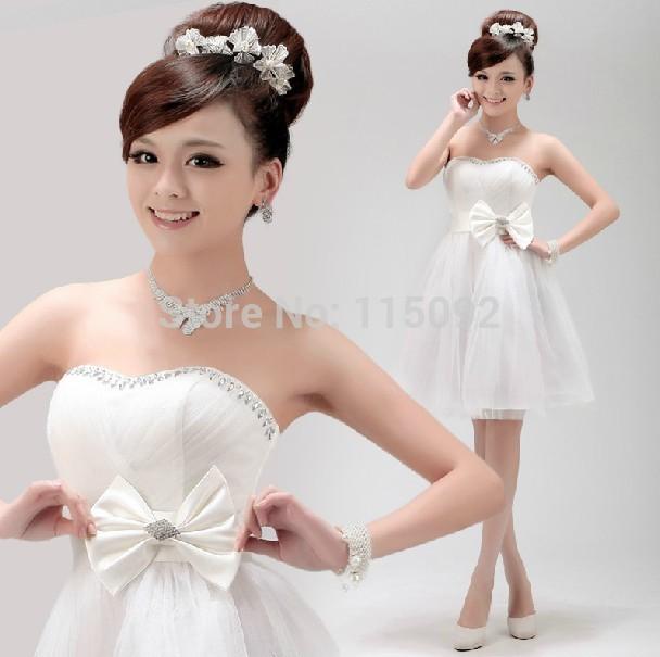 Vestido de festa Casamento modestos um ombro damas de honra vestido de tule vermelho dama de honra vestidos formais curtos raparigas W1286(China (Mainland))