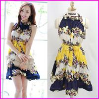 2014 New Arrival Women Summer Floral Print Bohemian Dress Plus Size Ladies Chiffon One-Piece Dresses Hang Neck Type Wholesale