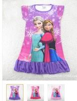 FROZEN nighties children girls frozen dress 6colors summer dress 3-11years free shipping 4 pcs/loteve dress  2014 NEW! kids An