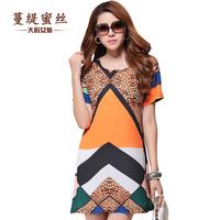 XL-5XL 2014 New Arrival Women Dresses Plus Size Straight One-piece Dress Clothing Loose Leopard Print Lace Dress Top Quality