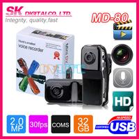Hot 32GB Mini Thumb DV DVR Sport Hidden Pinhole Digital Video Recorder Helmet Action Camera Webcam Camcorder MD80