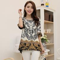 XL-5XL New Arrival 2014 Summer Women's Plus Size t shirt Short-sleeve Print Chiffon Shirt Mother Clothing  5xl Top Quality