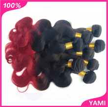 6A grade 50g/pc 1pc/lot ombre brazi-lian vir-gin hair weft body wave 100% hu-man hair two tone ombre hair extension freeshipping(China (Mainland))
