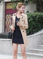 FreeShipping! New 2014 spring autumn overcoat women medium-long sashes trench coat slim women casual dress trench coat for women