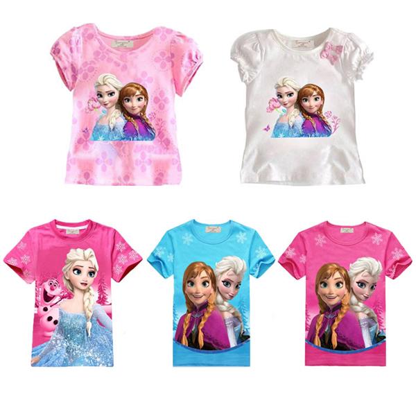 Retail girls blouse kids T shirt tops children brand girls T-shirts short sleeve white elsa anna frozen t shirts tcqg - 11(China (Mainland))