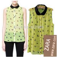 New 2014 Summer Brand Women Chiffon Blouse Shirt Fashion Casual Blusas Turn-down Collar Fashion Sleeveless shirt Vest Blouses