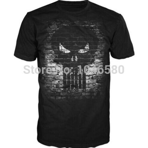 2014 New arrival men/women t shirt Marvel Comics Punisher Skull Logo Brick Wall Adult T-shirt fashion design mens cotton tee(China (Mainland))