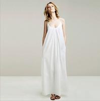 PerfectShow New Minimalist Maxi Long Slip Dress Loose Sex Spaghetti Strap V Neck Dress