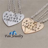 2014 new style broken heart 3 parts best friends forever pendant necklace   DMV282