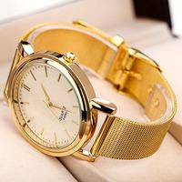 New Fashion Net Steel Strap Golden Plated Free shipping Women Men Steel Dress Watches Unisex Watches