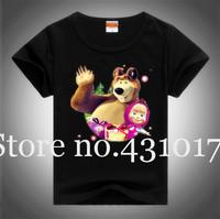 Free shipping Masha and Bear T-shirt boys clothes boys kids cartoon t shirt children t shirts girl clothing 2-10Age