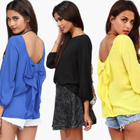 New 2014 Women Spring European Style Chiffon Fashion Blouse Casual Summer Loose Fitted Bow Pattern Backless  Shirt