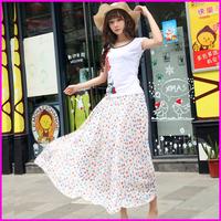 2014 Free shipping Amazing Sexy Long Skirts For Women Sweet Chiffon Flower Hot Sales Bohemian Princess Skirt High Quality