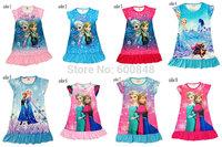 New arrivalSummer Children Girl Frozen Dress Anna Elsa design Dresses Casual Baby Girl's pajamas