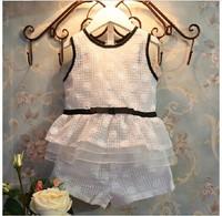 5set  clothing set 2014 summer new arrival fashion girls white  t-shirt +pants 2pcs set girls clothing sets size100-140