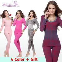 2014 new slimming thermo thermal velvet underwear vest lingeries womens thermal underwear set long john woman -printed