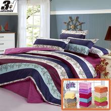 5pcs Comforter set (1pc Duvet cover+1pc bedsheet+2pcs pillowcases +1pc gift solid color Blanket) 100% Cotton Fabric(China (Mainland))