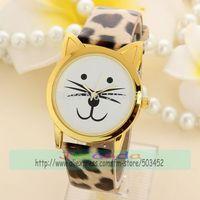 100pcs/lot leopard Print Cute Cat Design Casual Leather Watch Gold Case Wrap Quartz Dress Watch Hot Sale Ladies Watch 4 Colors