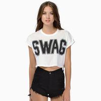 t shirts Women 100% Cotton SWAG Letters Short Sleeve Loose Crop Top Plus Size Tee Shirt Roupas Femininas Vetement Femme White