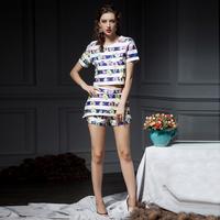 YIGELILA 882 New 2014 Celebrity Style Stripe Print Clothing Sets Women Shorts Suit Free Shipping