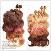 6A Human ombre brazilian body wave 3 three tone Blonde Brown color T4/30/27,T27/30/4 human hair weaves wavy bundle 6pcs 205g/lot