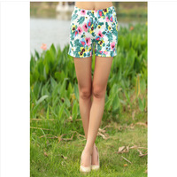 Casual Shorts women Fashion Flower Pattern Floral woman shorts summer 2014 High Elastic Girls Clothing Summer Cotton Shorts