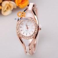 2014 elegance Round Quartz  Bracelets Watches Luxury Ceramic crystal Waterproof, Charm Style For Ladies