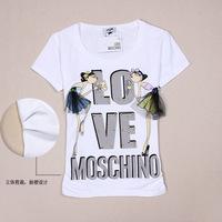 2014 New cartoon letters pattern beading decoration short sleeve cotton t shirt women S, M, L, XL Wholesale price