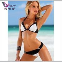 New 2014 summer bikinis set swimwear bandage white and black summer vintage beach victoria triangle bottom piece swimsuit W099