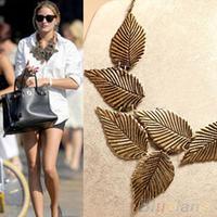 Trendy Women Bohemia Leaves Leaf necklace Multilayer Pendant Chain Bib Choker Necklace womenJewelry 042Y