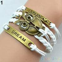 Retro Multilayer Owl Leather Cuff Bracelet women Handmade Braided Chain Bangle for Women 038X