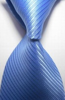 Striped  solid mens ties for men blue 2014 fashion