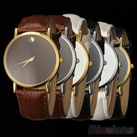 New Fashion Women's Men's Geneva Minimalism leather band Wrist Watch women 03A6