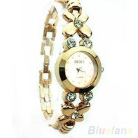 Hot Unique watch fashion Ladies Girls Womens Rhinestone Golden Quartz Wrist Watch wristwatch women 03AH