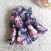 Hot Sale Girls Winter Coat Warm Add Wool Kids Flower Jacket Fashion 2014 Newest Korean Style Free Shipping