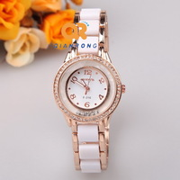 new fashion brand women's lady watches diamonds quartz dress ceramic rhinestones gift Wristwatches rose gold for girls